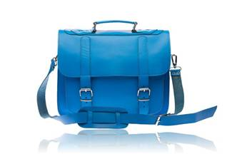 Leather  Briefcase - Newport  blue