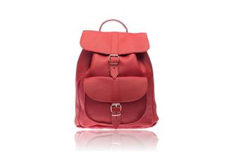Large  leather  Drucksack  red